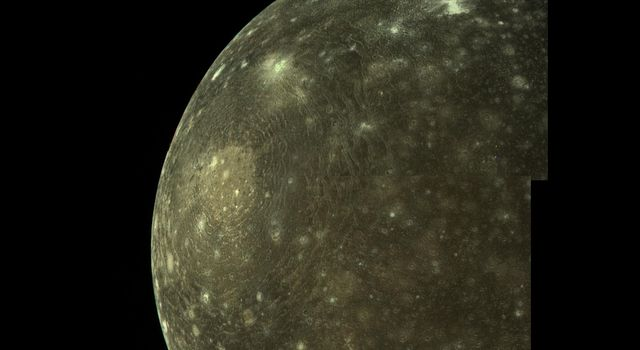Callisto was revealed by NASA's Voyager cameras to be a heavily cratered and hence geologically inactive world.