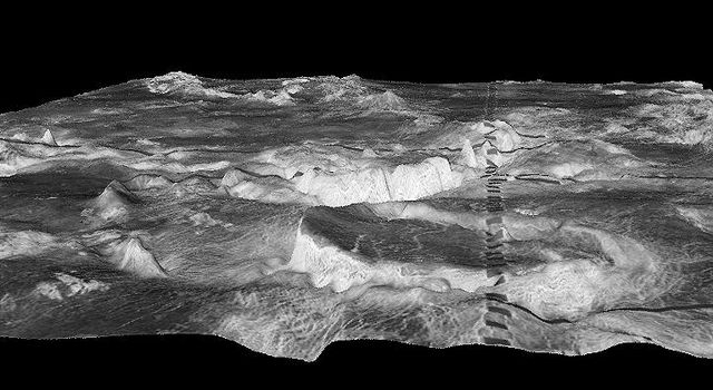 Three-dimensional perspective views of Venusian Terrains composed of reduced resolution left-looking synthetic-aperture radar images merged with altimetry data from the Magellan spacecraft.