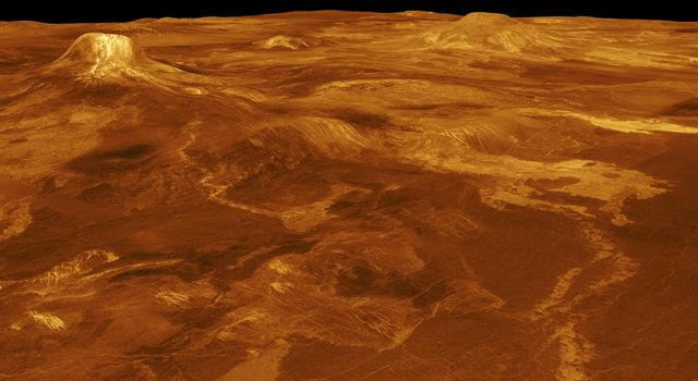 A portion of western Eistla Regio is displayed in this three-dimensional perspective view from NASA's Magellan spacecraft of the surface of Venus.