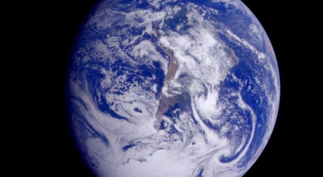 This color image of the Earth was obtained by Galileo at about 6:10 a.m. Pacific Standard Time on Dec. 11, 1990, when the spacecraft was about 1.3 million miles from the planet during the first of two Earth flybys on its way to Jupiter.