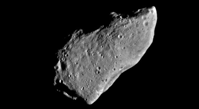 This picture of asteroid 951 Gaspra is a mosaic of two images taken by the Galileo spacecraft from a range of 5,300 kilometers (3,300 miles), some 10 minutes before closest approach on October 29, 1991.