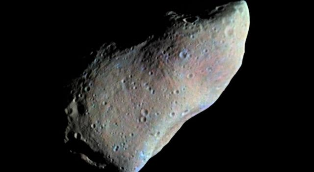 This picture of asteroid 951 Gaspra is a mosaic of two images taken by NASA's Galileo spacecraft from a range of 5,300 kilometers (3,300 miles), some 10 minutes before closest approach on October 29, 1991.