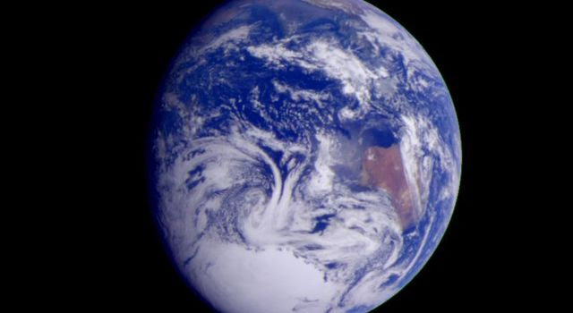 This color image of the Earth was obtained by NASA's Galileo spacecraft on Dec. 11, 1990, when the spacecraft was about 1.5 million miles from the Earth.
