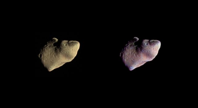 These two color views of the asteroid Gaspra were produced by combining three images taken through violet, green, and infrared filters by NASA's Galileo spacecraft on October 29, 1991.