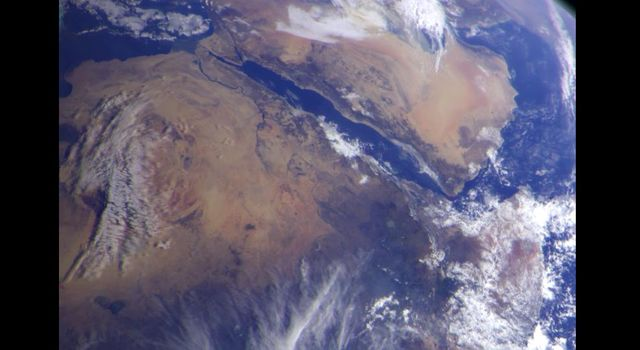 This image of northeast Africa and the Arabian Peninsula was taken from an altitude of about 500,000 kilometers (300,000 miles) by NASA's Galileo spacecraft on December 9, 1992, as it left Earth en route to Jupiter.