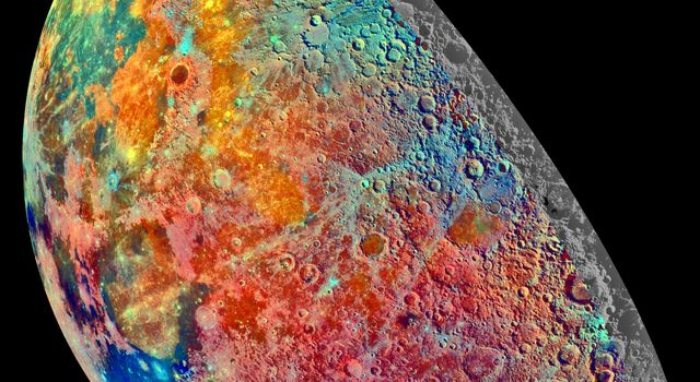 This false-color mosaic was constructed from a series of 53 images taken through three spectral filters by NASA's Galileo's imaging system as the spacecraft flew over the northern regions of the Moon on December 7, 1992.