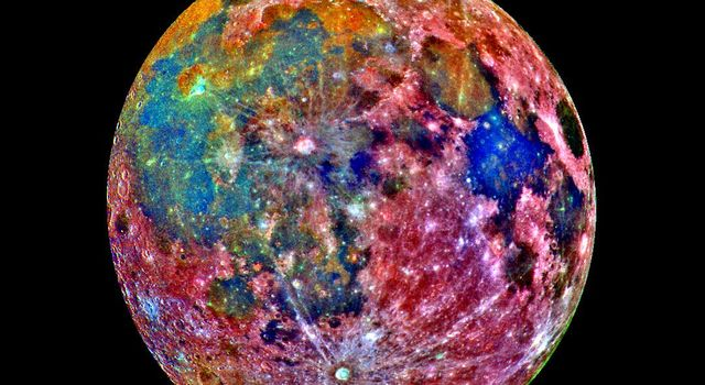 This false-color photograph is a composite of 15 images of the Moon taken through three color filters NASA's Galileo's solid-state imaging system during the spacecraft's passage through the Earth-Moon system on December 8, 1992.