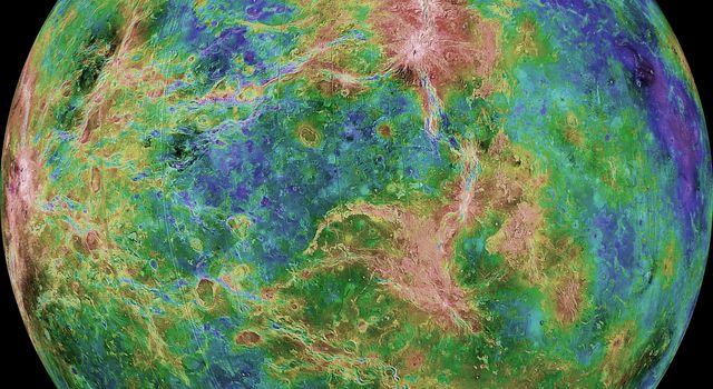 The view of Venus, after more than a decade of radar investigations culminating in the 1990-1994 NASA Magellan mission, is centered at 270 degrees east longitude.