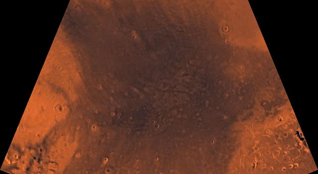 Mars digital-image mosaic merged with color of the MC-4 quadrangle, Mare Acidalium region of Mars. This image is from NASA's Viking Orbiter 1.