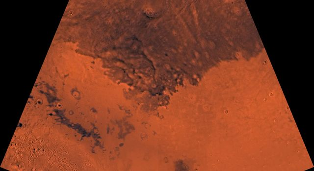 Mars digital-image mosaic merged with color of the MC-6 quadrangle, Casius region of Mars. This image is from NASA's Viking Orbiter 1.