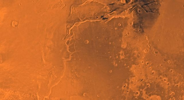 Mars digital-image mosaic merged with color of the MC-10 quadrangle, Lanae Palus region of Mars. This image is from NASA's Viking Orbiter 1.