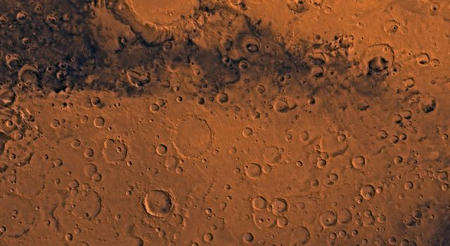 Mars digital-image mosaic merged with color of the MC-20 quadrangle, Sinus Sabeus region of Mars. This image is from NASA's Viking Orbiter 1.