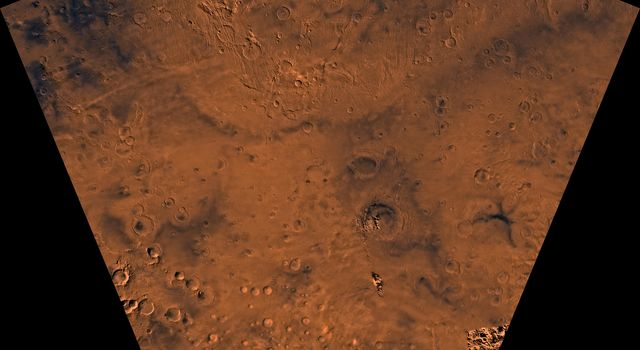 Mars digital-image mosaic merged with color of the MC-25 quadrangle, Thaumasia region of Mars. This image is from NASA's Viking Orbiter 1.