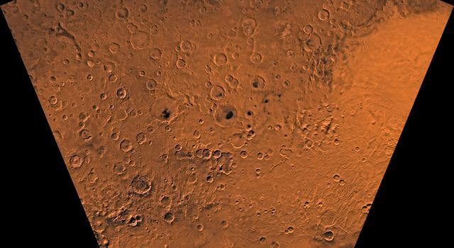 Mars digital-image mosaic merged with color of the MC-27 quadrangle, Noachis region of Mars. This image is from NASA's Viking Orbiter 1.