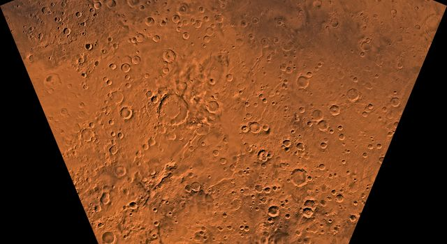 Mars digital-image mosaic merged with color of the MC-29 quadrangle, Eridania region of Mars. This image is from NASA's Viking Orbiter 1.