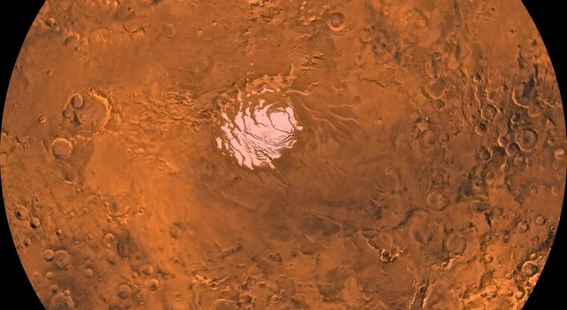 Mars digital-image mosaic merged with color of the MC-30 quadrangle, Mare Australe region of Mars. This image is from NASA's Viking Orbiter 1.