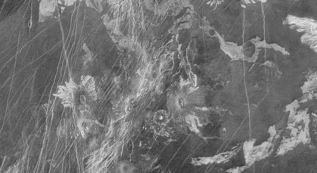 This image from the Atla region of Venus obtained by NASA's Magellan spacecraft shows several types of volcanic features and superimposed surface fractures.