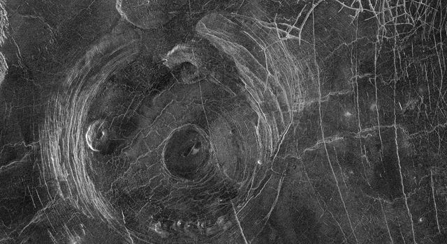 This radar image from NASA's Magellan spacecraft shows a region located in a vast plain to the south of Aphrodite Terra. The data for this image was obtained in January 1991.