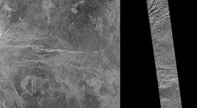 This image shows a comparison between NASA's Magellan image (right) and the highest resolution Earth-based Arecibo radar image of Venus.
