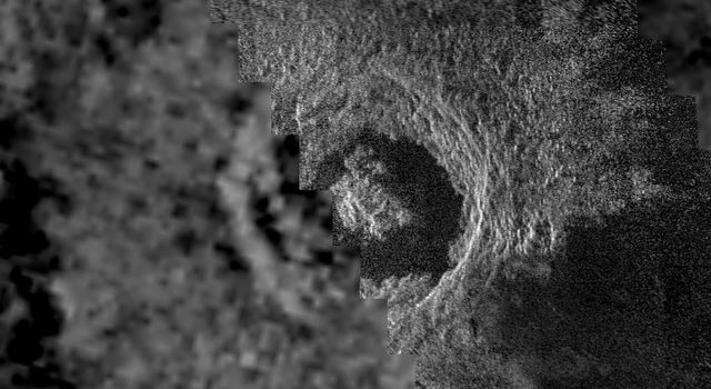 This image of the Venusian crater Golubkina, a 340 kilometer (20.4 miles) diameter impact crater located at about 60.5 degrees north latitude, 287.2 degrees east longitude, contains NASA's Magellan data mosaiced with a Soviet Venera radar image.