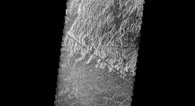 This radar image from NASA's Magellan is of part of the Phoebe region of Venus. It is a mosaic of parts of revolutions 146 and 147 acquired in the first radar test on Aug. 16, 1990.