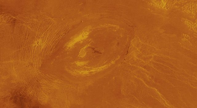 This image obtained by NASA's Magellan spacecraft reveals Sacajawea Patera, a large, elongate caldera located in western Ishtar Terra on the smooth plateau of Lakshmi Planum.