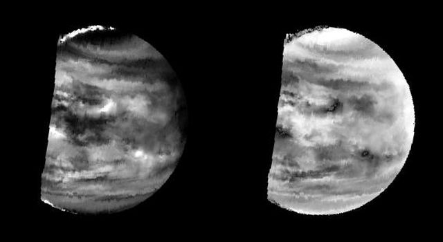 These images are two versions of a near-infrared map of lower-level clouds on the night side of Venus, obtained by the Near Infrared Mapping Spectrometer aboard NASA's Galileo spacecraft as it approached the planet February 10, 1990.