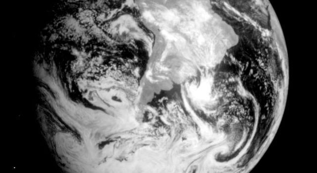 This near-infrared photograph of the Earth was taken by the Galileo spacecraft at 6:07 a.m. PST on Dec. 11, 1990, at a range of about 1.32 million miles. South America is prominent near the center.