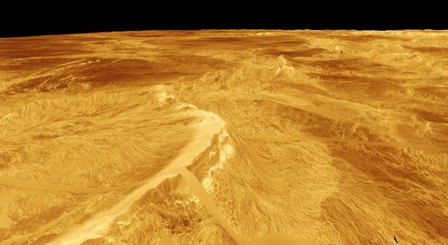 This computer-generated perspective view of Latona Corona and Dali Chasma on Venus shows NASA's Magellan radar data superimposed on topography.
