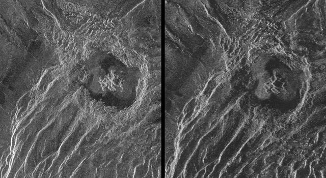 This is a stereo image pair of crater Goeppert-Mayer obtained by NASA's Magellan radar mapping mission.