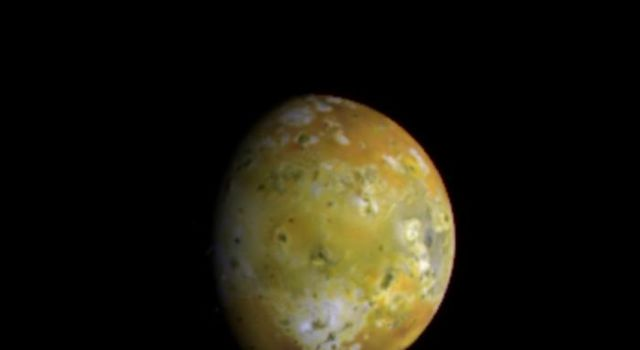 The mottled face of Jupiter's volcanically active moon Io as viewed by NASA's Galileo spacecraft.