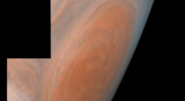 This view of Jupiter's Great Red Spot is a mosaic of two images taken by NASA's Galileo spacecraft. The Great Red Spot is a storm in Jupiter's atmosphere and is at least 300 years-old. The image was taken on June 26, 1996.