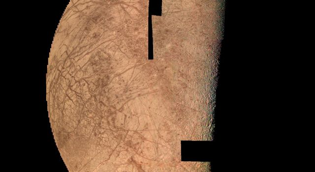 Europa looks like a cracked egg in this computer mosaic of the best of NASA's Voyager 2 images.