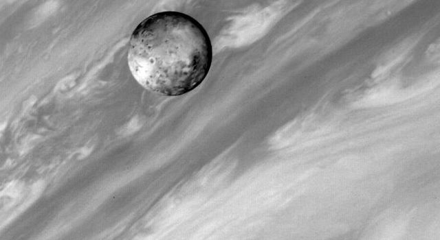 This photo of Jupiter's satellite Io was taken by NASA's Voyager 1 about 4:30 p.m. (PST) March 2, 1979. The spacecraft was about 5 million miles (8.3 million kilometers away).