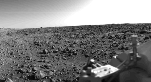 First panoramic view by NASA's Viking 1 from the surface of Mars taken in 1976. Toward the right edge is an array of smooth fine-grained material which shows some hint of ripple structure and may be the beginning of a large dune field.