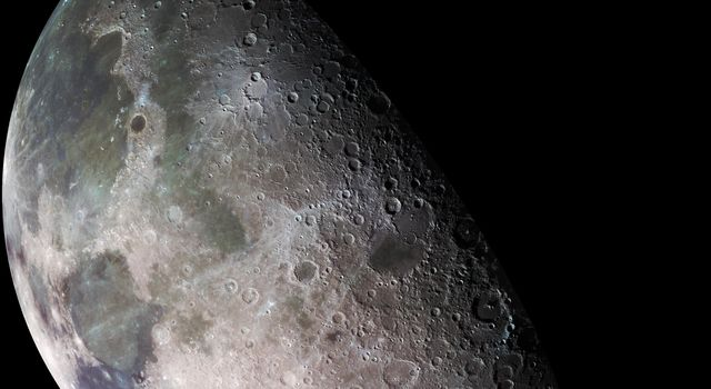 During its flight, the Galileo spacecraft returned images of the Moon. The Galileo spacecraft surveyed the Moon on December 7, 1992, on its way to explore the Jupiter system in 1995-1997. Seen here at left is part of the north pole.