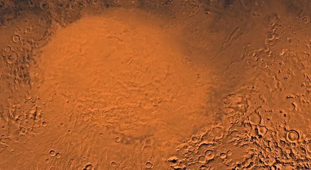A color image fro NASA's Viking Orbiter of the Hellas Planitia region of Mars; north toward top. The scene shows the Hellas plain within the 1,800- km-diameter Hellas basin, an ancient impact basin.