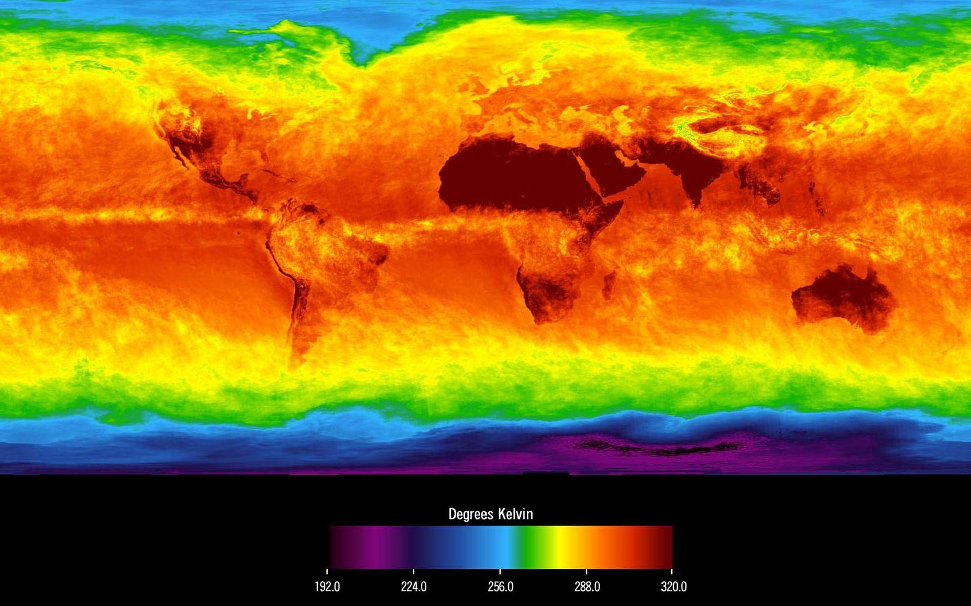 Space Images   Global Average Brightness Temperature for April 2003