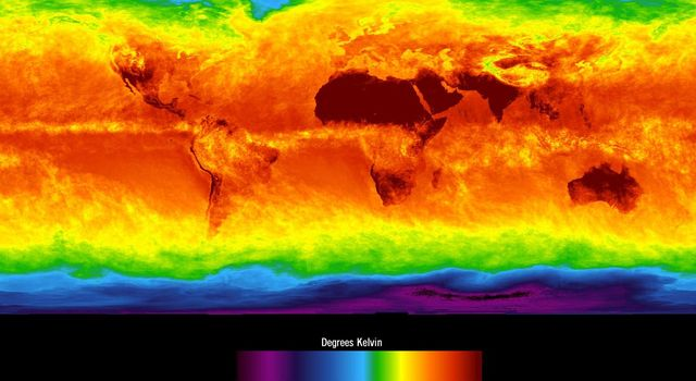 This image shows average temperatures in April, 2003, observed by AIRS at an infrared wavelength that senses either the Earth's surface or any intervening cloud.