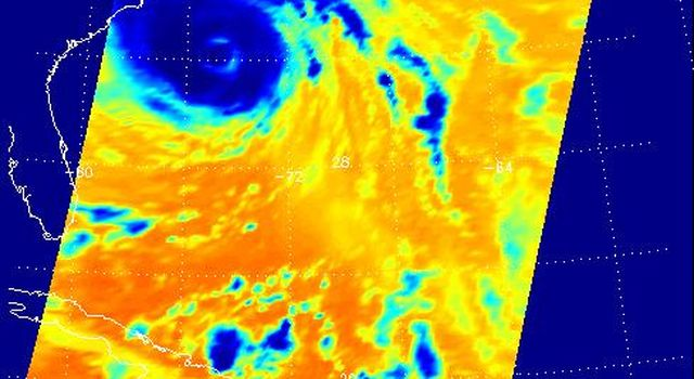 This false-color image shows Hurricane Isabel viewed by the AIRS and AMSU-A instruments at 1:30 EDT in the morning of Thursday September 18, 2003.