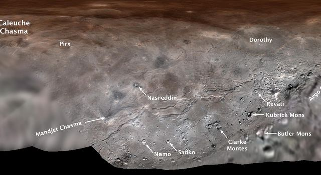 This annotated map projection from NASA's New Horizons spacecraft shows Charon, the largest of Pluto's five moons, annotated with its first set of official feature names.