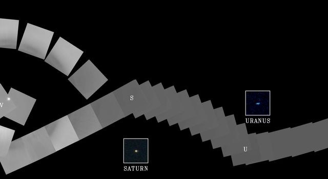 The cameras of Voyager 1 on Feb. 14, 1990, pointed back toward the sun and took a series of pictures of the sun and the planets, making the first ever 'portrait' of our solar system as seen from the outside.
