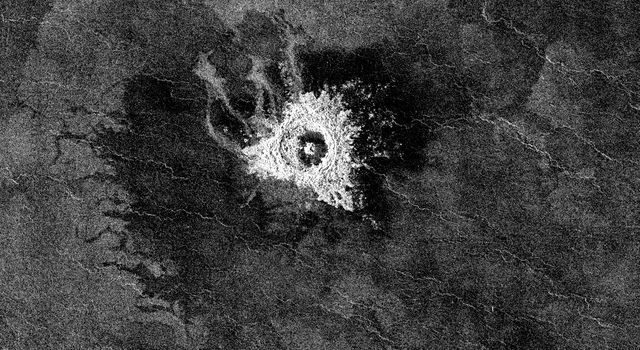 This full-resolution image from NASA's Magellan spacecraft shows an impact crater named Jeanne. The distinctive triangular shape of the ejecta indicates that the impacting body probably hit obliquely, traveling from southwest to northeast.