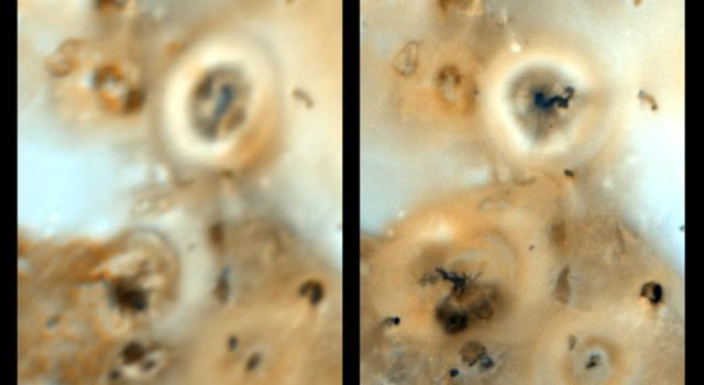 Volcanoes on Jupiter's moon Io are compared in these images from NASA's Galileo spacecraft (right) taken in early September of this year, and from the Voyager spacecraft (left) taken in 1979.