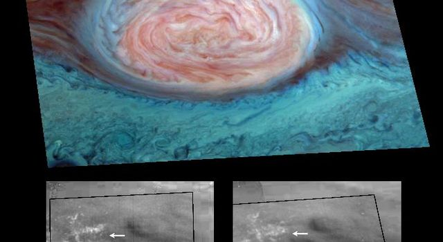 Scientists spotted what appear to be thunderheads on Jupiter bright white cumulus clouds similar to those that bring thunderstorms on Earth, at the outer edges of Jupiter's Great Red Spot. The photos were taken by NASA's Galileo orbiter on June 26, 1996.