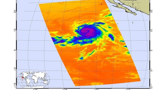 Infrared image of Hurricane Hector in the eastern Pacific were created with data from the Atmospheric Infrared Sounder (AIRS) on NASA's Aqua satellite on August 17, 2006.