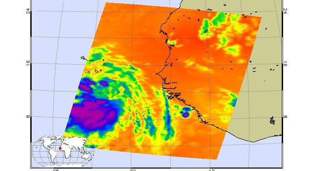 This infrared image show Tropical Depression Debbie in the Atlantic, from the Atmospheric Infrared Sounder (AIRS) on NASA's Aqua satellite on August 22, 2006.