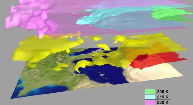AIRS Retrieved Temperature Isotherms over Southern Europe viewed from the west, September 8, 2002. The isotherms in this map made from AIRS onboard NASA's Aqua satellite data show regions of the same temperature in the atmosphere.