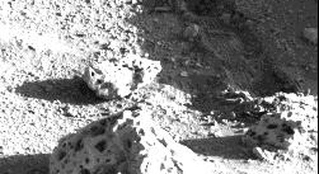 A shallow 12-inch-long trench was dug by Viking 2's surface sampler scoop on Sept. 12, 1976 on Mars.