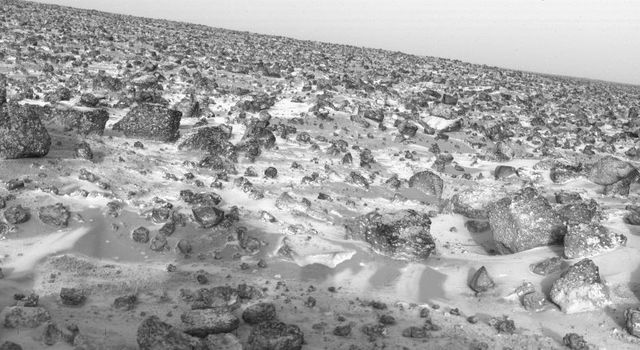 This high-resolution photo of the surface of Mars was taken by NASA's Viking Lander 2 at its Utopia Planitia landing site on May 18, 1979 and relayed to Earth by Viking Orbiter 1 on June 7.